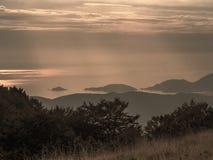 Półmrok nad zatoką poety aka zatoka los angeles Spezia, Liguria Włochy Wyspy wyraźnie widoczne Blisko Cinque Terre Pięć fotografia royalty free