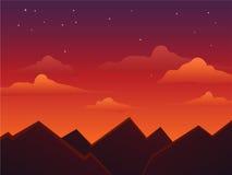 Półmrok nieba Na górze gór ilustracja wektor