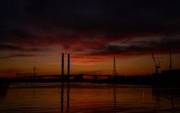 Półmrok przy docklands fotografia stock