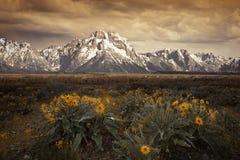 Półmrok przy Uroczystym Tetons obraz stock