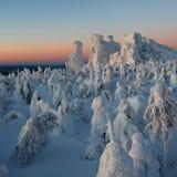 Półmrok w górach, zima Kolchimsky kamień, Perm Kray, Rosja zdjęcie stock