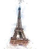 półmrok wieża eifla ilustracji
