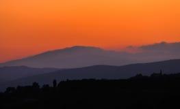 półmrok wzgórza Toscana obraz stock