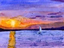 półmroku łódkowaty żagiel obraz stock