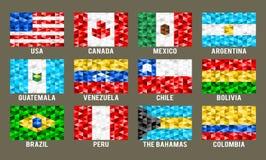 Północ & Ameryka Południowa niskie poli- flaga Zdjęcie Royalty Free