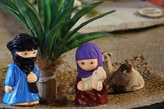 Północna afrykanina stylu narodzenia jezusa scena z Świętą rodziną Obraz Stock