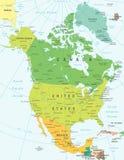 Północna Ameryka - mapa - ilustracja Obrazy Royalty Free