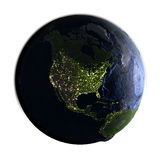 Północna Ameryka na ziemi przy nocą odizolowywającą na bielu Obraz Stock