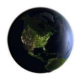 Północna Ameryka na ziemi przy nocą odizolowywającą na bielu Zdjęcia Royalty Free