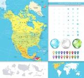 Północna Ameryka wyszczególniał polityczną mapę Obrazy Royalty Free