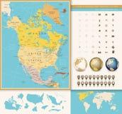 Północna Ameryka wyszczególniał polityczną mapę z roczników kolorami Obraz Stock