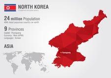 Północna Korea światowa mapa z piksla diamentu teksturą Zdjęcia Stock