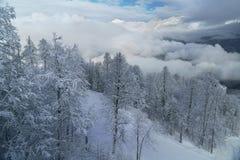 Północna skłonu Aibga grań Zachodni Kaukaz przy ośrodkiem narciarskim Gorky Gorod Zdjęcia Royalty Free