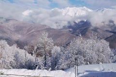 Północna skłonu Aibga grań Zachodni Kaukaz przy ośrodkiem narciarskim Gorky Gorod Fotografia Royalty Free