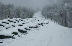 Północna skłonu Aibga grań Zachodni Kaukaz przy ośrodkiem narciarskim Gorky Gorod Zdjęcie Stock