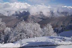 Północna skłonu Aibga grań Zachodni Kaukaz przy ośrodkiem narciarskim Gorky Gorod Obraz Royalty Free