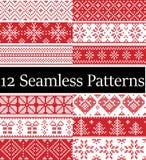 Północne stylowe wektor próbki inspirować Skandynawskimi bożymi narodzeniami, świątecznej zimy bezszwowy wzór w przecinającym ści Obrazy Royalty Free