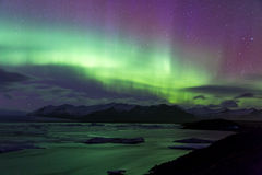 Północnego światła zorzy borealis Jokulsarlon lodowiec zdjęcie royalty free