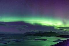 Północnego światła zorzy borealis Jokulsarlon lodowiec zdjęcia royalty free