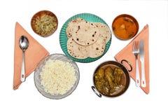 Północnego Indiańskiego non-veg chapatti ryżowy posiłek Zdjęcie Royalty Free