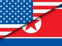 Północnego Korea I Stany Zjednoczone nasunięcie Zaznacza 3d ilustrację ilustracja wektor