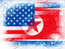 Północnego Korea I Stany Zjednoczone ochrony 3d ilustracja ilustracja wektor