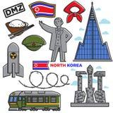 Północnego Korea podróży punktów zwrotnych sławnej kultury atrakcj turystycznych wektoru tradycyjne ikony ilustracji