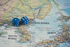 Północnego Korea wyzwanie międzynarodowy wojenny pojęcie zdjęcie royalty free