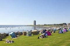 Północnego morza plaża przy BÃ ¼ sumą, Niemcy Zdjęcie Royalty Free