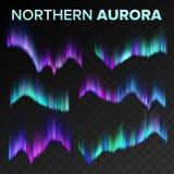 Północnej zorzy Ustalony wektor Biegunowej niebo nocy Błyszczący Magiczny zjawisko Czarny Przejrzysty tło Abstrakcjonistyczna zor ilustracji