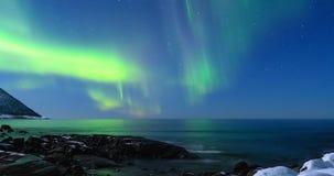 Północni światła, biegunowy światło Borealis w nocnym niebie lub zorza, zbiory wideo