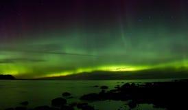Północni światła 03 11 15, jeziorny Ladoga, Rosja Fotografia Stock