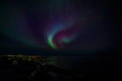 Północni światła na brzeg Zdjęcia Royalty Free