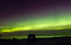 Północni światła na jeziornym Ladoga, Rosja, Listopad 03, 2015, podróż dżipa Wrangler Zdjęcie Stock