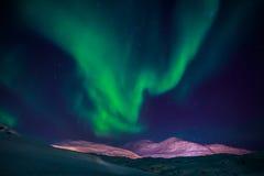 Północni światła nad Nuuk miastem Zdjęcia Stock