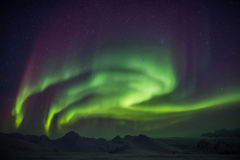 Północni światła przez Arktycznego niebo - Svalbard Zdjęcie Stock