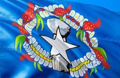 północni chorągwiani marianas 3D falowania usa stanu flagi projekt Obywatel USA symbol Północnych Mariana wysp stan, 3D obraz stock