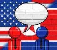 Północno-koreańska Amerykańska spotkanie mowy bąbla 3d ilustracja royalty ilustracja