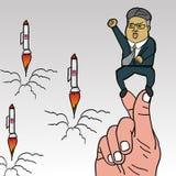Północno-koreański lider, Kim UN na koreańskich palcach projektuje z rakietami Maj 22, 2018 ilustracja wektor