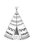 Północnoamerykański Indiański tipi z plemiennym ornamentem Fotografia Royalty Free