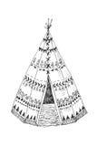 Północnoamerykański Indiański tipi z plemiennym ornamentem Fotografia Stock