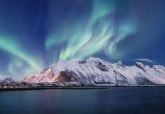 Północny światło nad góry na Lofoten wyspach Obraz Royalty Free