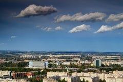 Północny Budapest z Danube wieżowami i areną Obraz Stock
