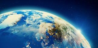 Północny Europa miasto zaświeca i chmurnieje obraz royalty free