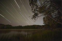 Północny jezioro gwiazdy ślad Fotografia Royalty Free
