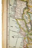 Północny Kalifornia na rocznik mapie Fotografia Stock