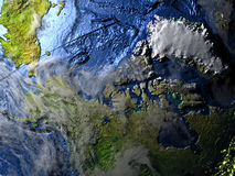 Północny Kanada i Greenland na ziemi - widoczna ocean podłoga Zdjęcie Stock