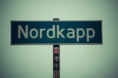 Północny przylądka znak, nordkapp, Norway Zdjęcia Stock
