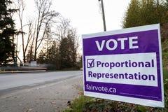 PÓŁNOCNY VANCOUVER, BC, KANADA, NOV - 08, 2018: Signage na Dollarton autostrady przypomnienia mieszkanu głosować w bc elektoralny zdjęcia stock