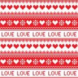 Północny, zimy miłości serca bezszwowy czerwony wzór Obraz Stock